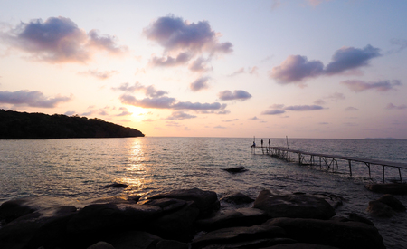 Koh Kood sea in summer with sky sunset. There are beaches from rocks and bridges look sea view
