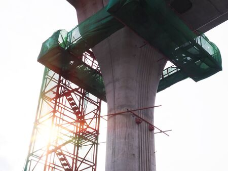tall pillar of construction structure of electric train, Sky Road. Banco de Imagens