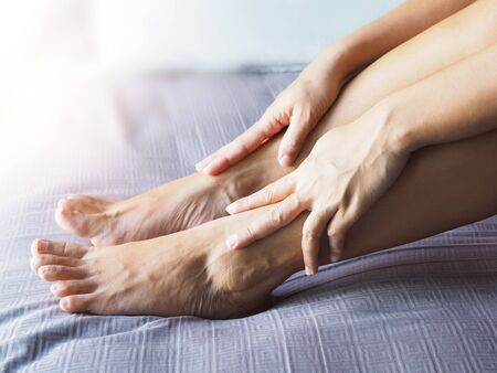 Foot pain and ankle pain from bones to muscles and inflammation of tendons from  disease Zdjęcie Seryjne