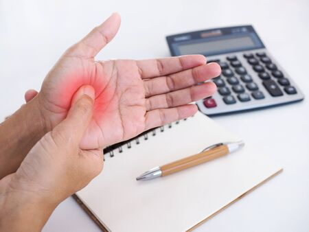 Close up of hand with hand pain, palms and nerve inflamed syndrome from office working.