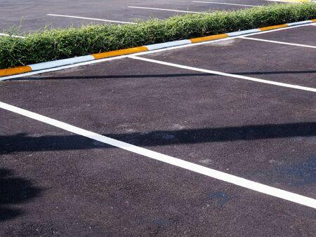 Parking lane on concrete road, empty car parking lot.