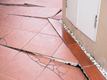 Problems of the construction of houses, collapse houses, soil collapsed, tiles broken damaged, floor split cracked.