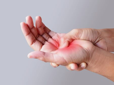 Close-up of women hand with hand pain fingers and palm from pain and numbness Reklamní fotografie