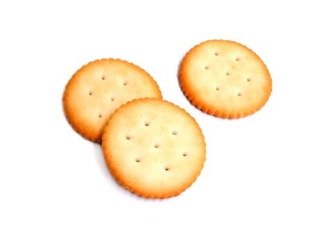 Bread biscuit cracker isolated on white background. Standard-Bild
