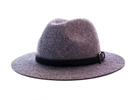 Vintage Panama hat for men Made of gray flannel fabric. classic style fashion accessories isolated on white background. Foto de archivo