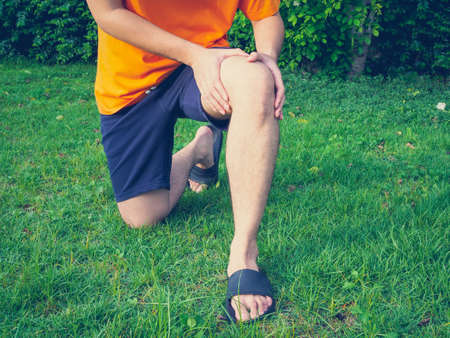 People with leg pain, muscle inflammation and knee pain with walking in garden