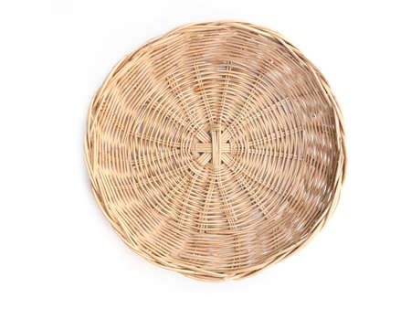 Top view of round woven bamboo basket isolated on white background Stock Photo