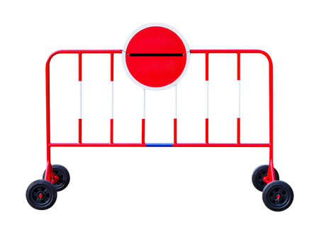 Stop barrier fence security sign red and white of private property isolated on white background with clipping path