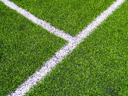 White line border on football field or futsal or soccer field Stock Photo