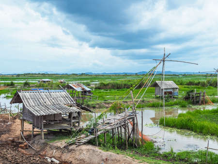 life of fishermen in countryside with old huts at Thale or talay noi, Songkhla Lake in Phatthalung Thailand Stock Photo