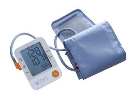 Medical equipment check health with digital blood pressure monitors isolated on white background Stock Photo