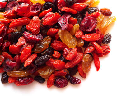 Top view of dried cereal natural food with goji berry and dry raisin grape fruit isolated on white background