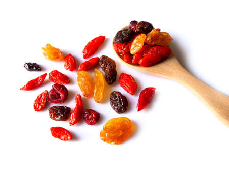 Top view of pile dried fruit isolated on white background.