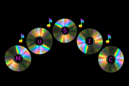 Five colorful compact discs with musical notes Stok Fotoğraf