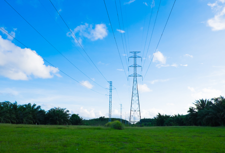 high tech: Electricity tower on the grassland