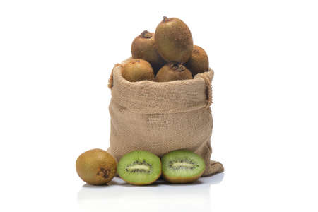 kiwi friut in sack on white background.