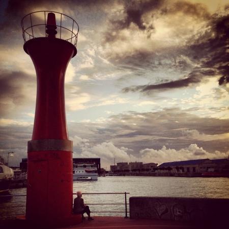 Sunset in Lighthouse Vigo Spain Stock Photo