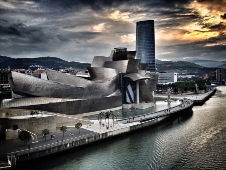 metallic: Guggenheim museum sunset Stock Photo