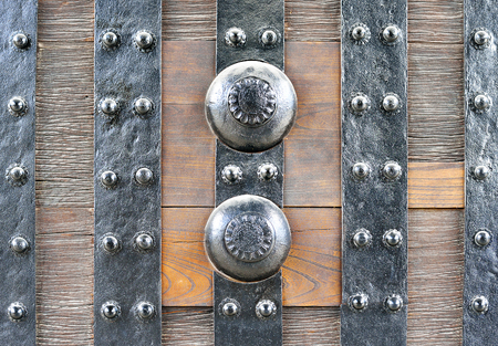 Closeup of the East Gate (Higashi Ote-mon) of Nijo Castle, Kyoto, Japan, showing its metal fittings
