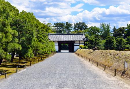 Gravel path and gate, Nijo Castle, Kyoto, Japan