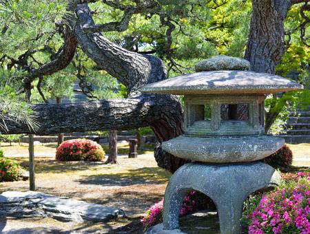 A stone lantern in the Honmaru Garden, Nijo Castle, Kyoto, Japan