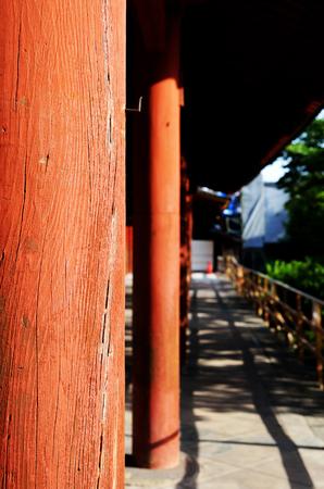 Red wooden columns at Todaiji Temple, Nara, Japan