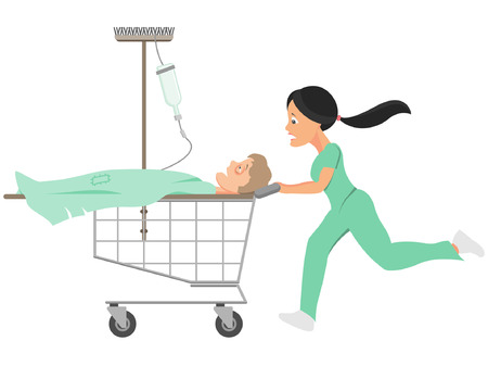 emergency cart: Healthcare budget cuts Illustration