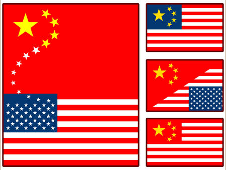 renminbi: China and United States Flags Illustration