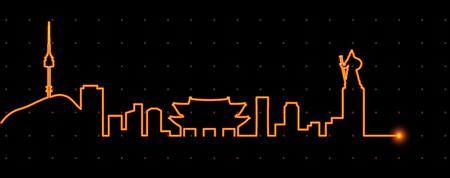 seoul: Seoul Light Streak Profile Illustration