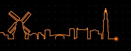 in profile: Amsterdam Light Streak Profile Illustration