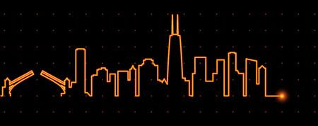 in profile: Chicago Light Streak Profile Illustration