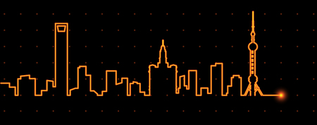 shanghai skyline: Shanghai Light Streak Profile