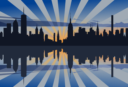 midtown: New York Sunset Profile Illustration