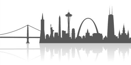 Stati Uniti Città Luoghi di interesse Profilo Vettoriali