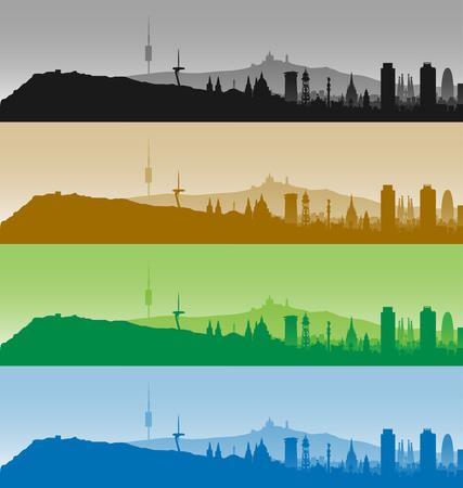 Barcelona Highly Detailed Four Color Skyline