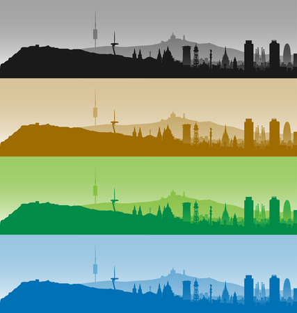 Barcelona Highly Detailed Four Color Skyline