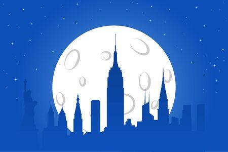 new york night: New York Night Silhouette Illustration