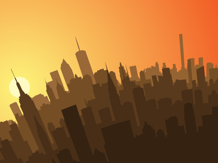 New York Sunset Profile Иллюстрация