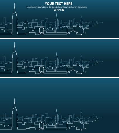 New York Multiple Light Streaks Silhouette
