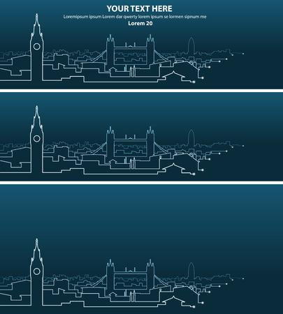 light streaks: London Multiple Light Streaks Silhouette Illustration