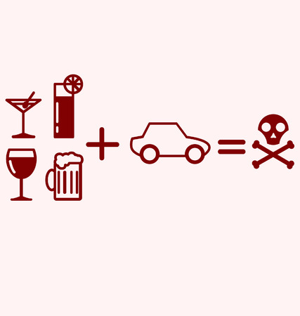 intoxication: Alcohol Plus Driving Equals Danger Illustration