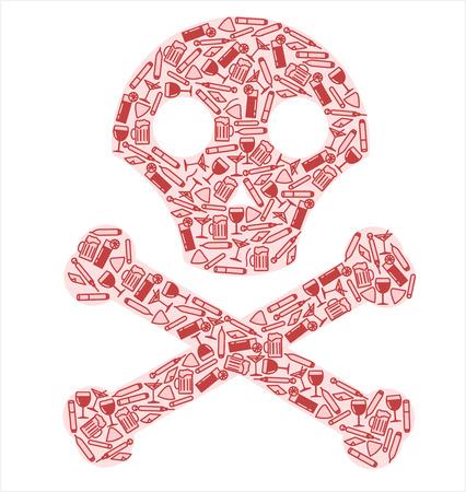 excess: Bad Habits Health Danger Illustration