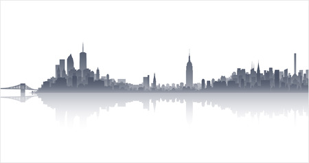 manhattan skyline: Manhattan Highly Detailed Skyline Illustration