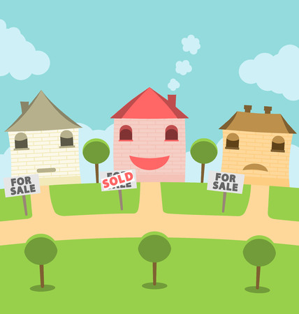residential neighborhood: Sold Houses and Houses for Sale Illustration