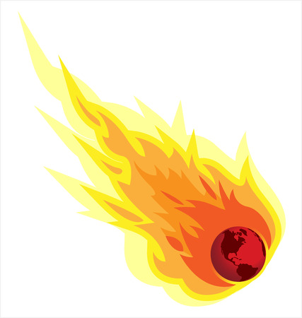Global Warming Fireball Illustration