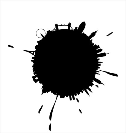 New York, Paris and London Silhouette Spatter