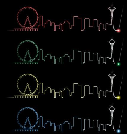 Seattle meerdere kleuren Lichtstraal Profiel Stock Illustratie