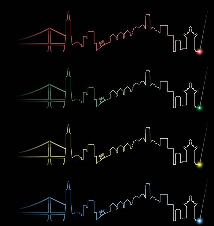 San サンフランシスコ複数カラープロファイルの光ビーム