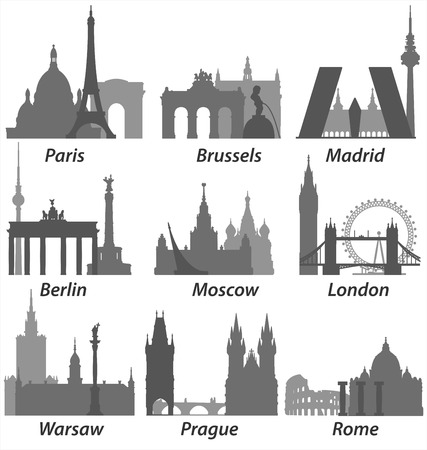 capitals: Capitals of Europe Silhouettes