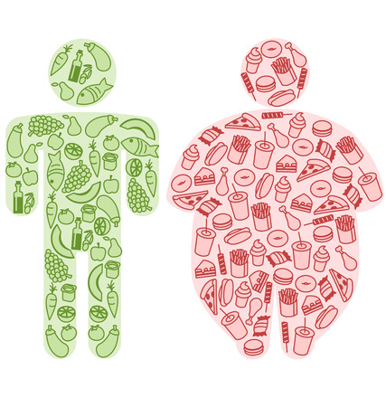 fatty food: Human Figures and Healthy and Fatty Food